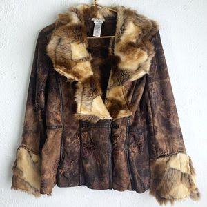 Cache Faux Fur & Suede Rose pattern boho jacket